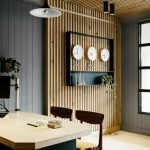 Wooden Slats On The Wall And Ceiling, Wooden Floor, Grey Wooden Planks Wall, Wooden Table With Wooden Chairs