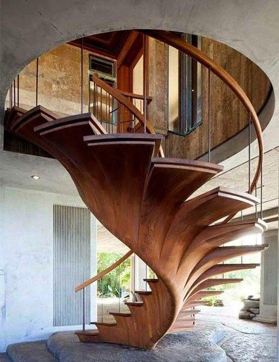 wooden stairs with opened center leaf shaped, wooden rail