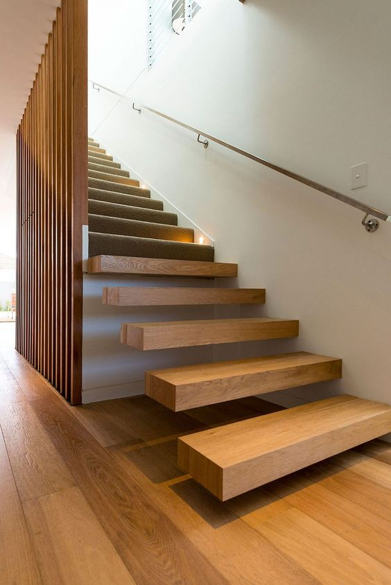 wooden stairs, wooden slats wall, railing, floating wooden stairs, wooden floor