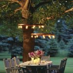 Yard With Round Chandelier, Small Lamps On It, Wooden Dining Table Set