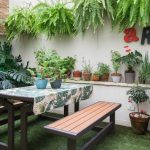 Bakcyard, Grass, White Wall, Plants On Pots, Wooden Built In Table And Bench