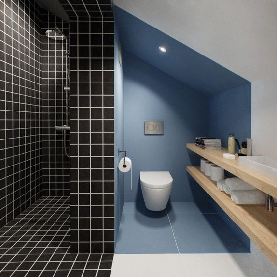 bathroom, black square wall tiles in shower area, blue painted wall in toilet aea, wooden floating shelves, white toilet