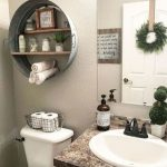Bathroom, Brown Marble Top Cabinet, White Sink, Frameless Mirror, White Sink, Aluminum Round Floating Shelves