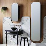 Bathroom, White Floor, Wooden Wall, Grey Marble, Black Vanity Table, Black Chair, Frameless Mirrors