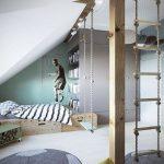 Bedroom, White Floor, Ball Shaped Rug, Wooden Bed Platform, Swing, Stairs Rope, Sloping Ceiling