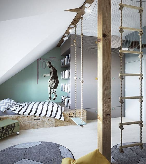 bedroom, white floor, ball shaped rug, wooden bed platform, swing, stairs rope, sloping ceiling