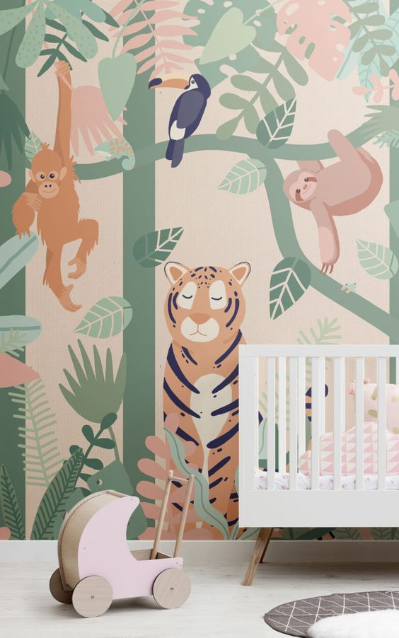 bedroom, white floor, forest wallpaper, white wooden crib, rug, toys