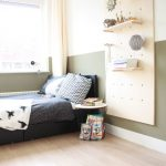 Bedroom, Wooden Floor, Two Tone Wall, Black Bedding, Pegboards With Shelvs And Hook