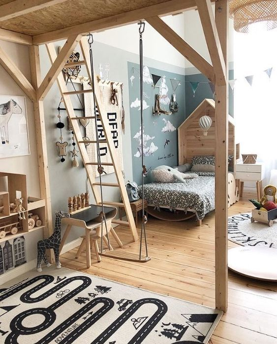 bedroom, wooden floor, wooden bed platform, toys, rugs, blue wall, wooden stairs, wooden swing, wooden shelvs, chair