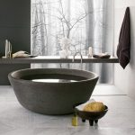 Black Stone Round Tub, Golden Faucet, Floating Shelves, Marble Floor Tiles