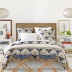Bohemian Duvet Cover Traditional Headboard Folding Stools White Nightstands Pendant Lamps Frames White Bed Shag Rugs