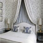 Classic Bedroom, Flower Wallpaper, White Ebd, Round Small Tall Canopy, White Table Lamp, Grey Wainscoting