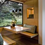 Dining Nook, Floating Wooden Square Bench And Table, Wooden Wall, Wooden Ceiling