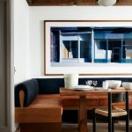 Dining Nook, Sturdy Wooden Bench With Brown Leather Cushion, Black Back, Square Wooden Table, Small Stool With Rattan Seating