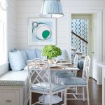 Dining Nook, White Bench Corner With Blue Cushion, Blue Pillows, White Bamboo Chairs With Blue Seating, Blue Pendant, White Square Table