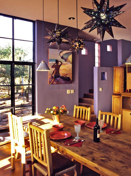 dining room, wooden floor, purple wall, warm yellow wooden dining table set, wooden cabinet, star pendants, glass window, glass door