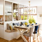 Dining Set With Built In Wooden Bench, Brown Cushion, Wooden Table With X Legs, Modern Chairs, Glass Partition, Kitchen, Chandelier