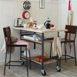 Dining Set With Wooden Table On Wheels, Wooden Chair With Metal Support