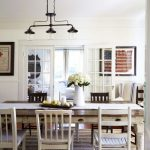 Dining Table Set, Wooden Long Table, White Wooden Chairs, White Wall, Rug, Chandelier, Glass Door