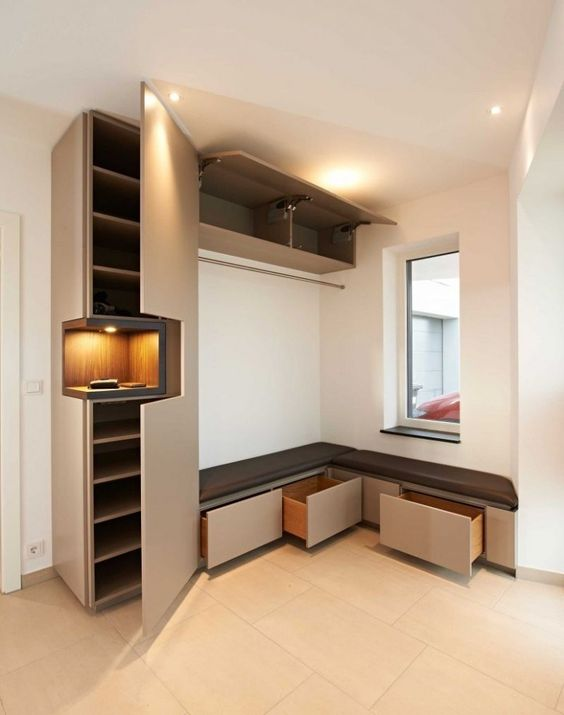 entrance with corner bench, drawers under, supboard on the side, top storage, middle shelves