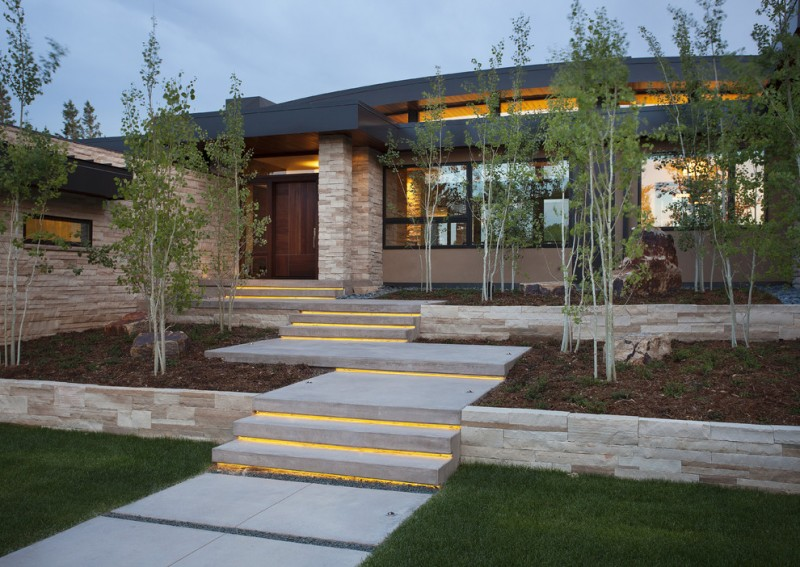 exterior landscaping outdoor paradigm led concrete stairs grass trees stone walls black framed glass windows black roof wooden doors