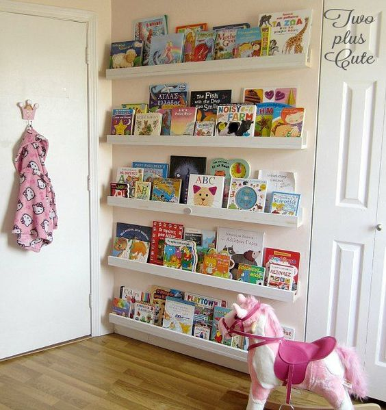 five lines of floating bookcase behind the door