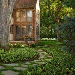 Flagstone Walkway Design Ideas Brick Home Brown And Glass Windows Glass Doors Grass Plants Plumber Small Garden