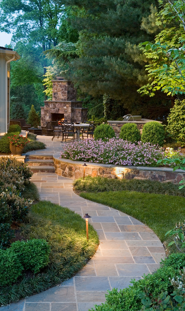 flagstone walkway design ideas grass ooutdoor lamps stone fireplace iron outdoor chairs white pedestal table stairs coffee table