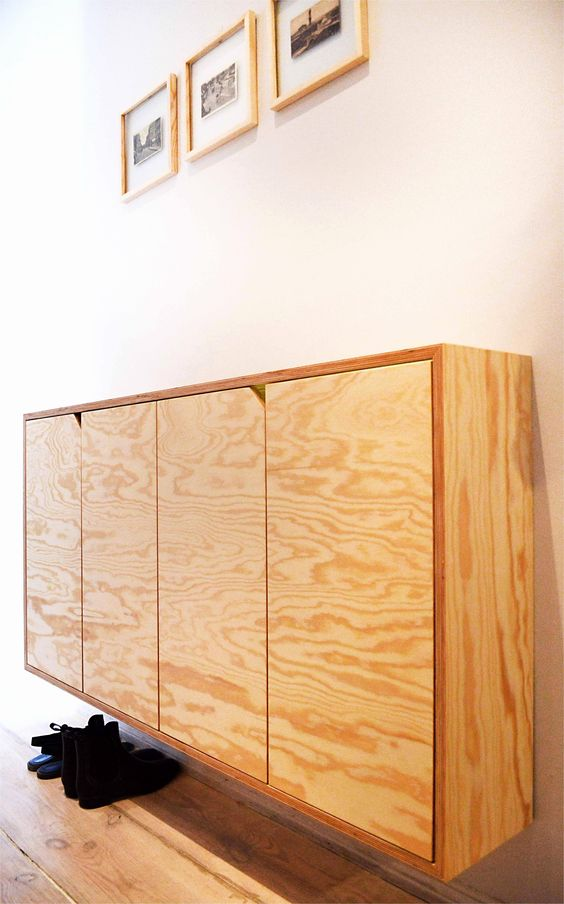 floating small cabinet in natural wood look