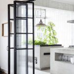 Glass Partition, Foldable, Black Frame, Part The Kitchen, Wooden Floor Floor, White Floor, Grey Island
