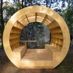 Golden Round Curve Roof Bench With Shelves, Built In Bench And Table