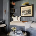 Grey Wooden Bed Nook, Wooden Wall, Bookshelves On Headboard, Storage Under, Coffee Table