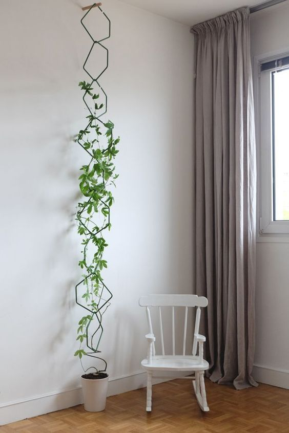 hexagonal wire in one line on the wall, white pot, white rocking chair, vynil floor