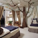 Kids Bedroom, Beige Floor, Beige Wall, Beds, Tree Decoration With Branch Sprouts, Ceiling Fan, Plants On Pots, Brown Curtain