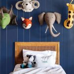 Kids Bedroom, Blue Wooden Wall, Animals Head Decorations, Wooden Bed Platform, Grey Bedding
