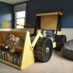 Kids Bedroom, Brown Floor, Grey Wall, Beige Wainscoting, Tractor Bed With Shelves, Brown Wooden Cabinet, Bean Bag