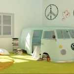 Kids Bedroom, Green Rug, Round Rug, Green Wall, Green Car Shaped Bed Room Platform With Bed Inside