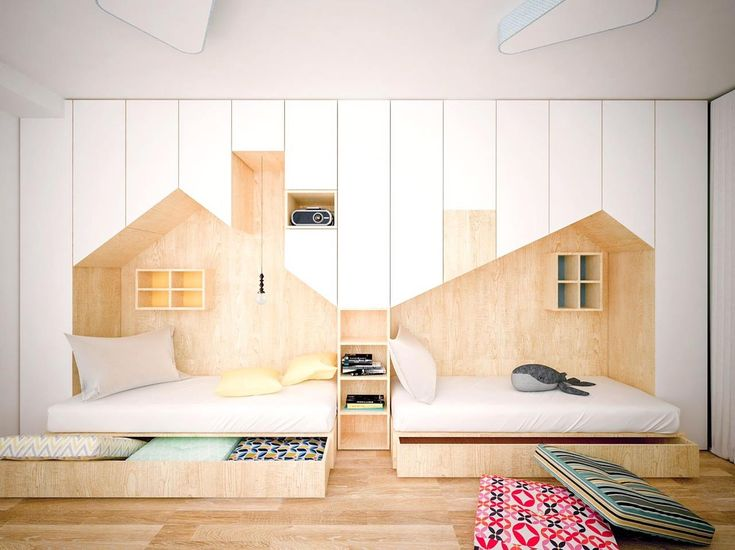 kid's bedroom with double beds with sliding storage under, house shape above, shelves on windows, wooden floor