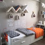 Kids Bedroom With Wooden Floor, White Bed Platform With Strage, White Bedding, Grey Wall, Floating Zigzag Shelves, Drawing On The Wall, Shelves
