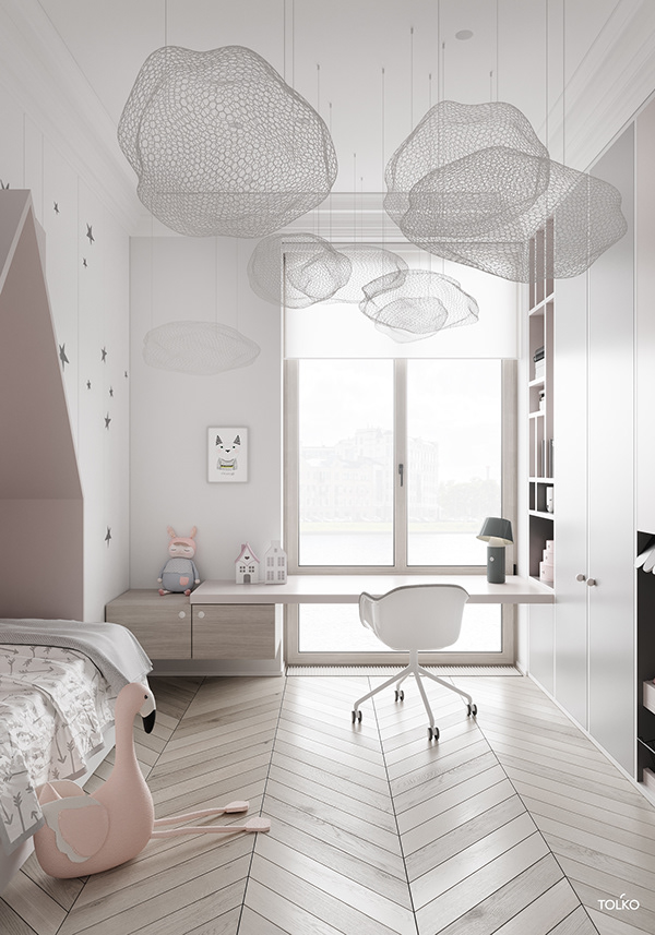 kids bedroom, wooden chevron floor, white wall, built in table, white office chair, wooden floating shelves, window, cupboard, bed with arch ceiling