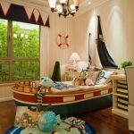 Kids Bedroom, Wooden Floor, Boat Shaped Bed, Silor Round Rug, White Wall, Chandelier, Window, White Wooden Cabinet