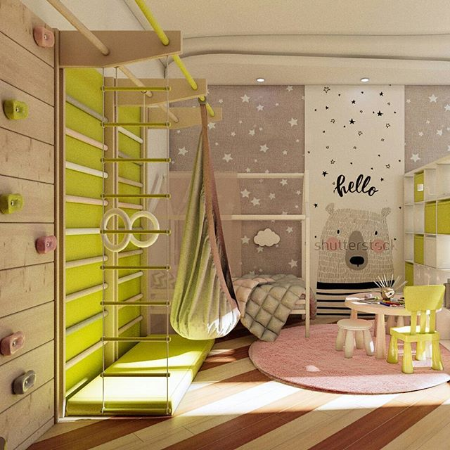 kid's bedroom, wooden floor, climbing board, monkey bar on green board background, grey wall, green swing, pink rug, white bed platform, children's table chair