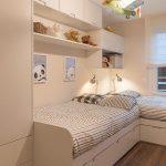 Kids Bedroom, Wooden Floor, White Wooden Built In Bed, Shelves, Cabinet, And Cupboard, Biplane Pendant