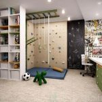 Kids Room, Beige Floor, Climbing Wall, Monkey Bar, White Shelves, White Table, Green Cabinet, Blackboard, Matress