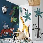 Kids Room, White Floor, White Wall, Animals Stickers On The Wall, Stuffed Animals, Zebra Head Decorations, Rattan Pendant, Bean Bag, White Rug