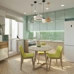 Kitchen, Glossy White Upper Cabinet, Wooden Bottom Cabinet, Glossy Baskplash, Wooden Round Table, Wooden Chairs With Green Cushion, Pendants