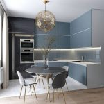 Kitchen, Grey Upper And Bottom Cabine, LED Lights Under The Upper Cabinet, Black Refrigeratore, White Marble Floor, Wooden Floor, Grey Round Table And Chairs, Gold Pendant