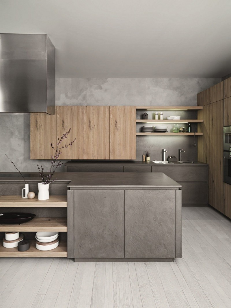 kitchen, light wooden floor, grey cabinet, grey cabinet, wooden shelves on island, wooden floating cabinet, wooden shelves with LED lights, wooden cabinet pantry