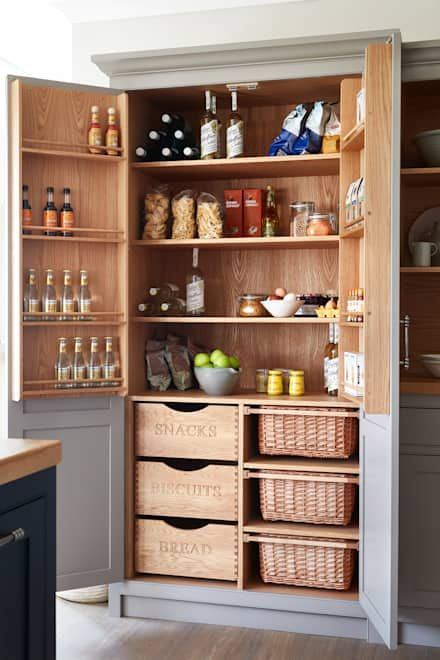 kitchen pantries, shelves, shelves with drawers, shelves on the door, shelves with basket