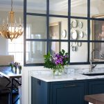 Kitchen Partition, Blue Cabinet With White Marble Top, Glass Framed Partition, Wooden Floor, Wooden Dining Set, Chandelier